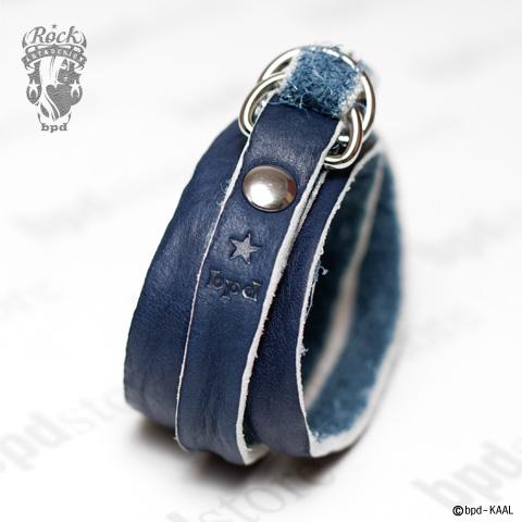 藍染め 3重巻き レザーブレスレット
