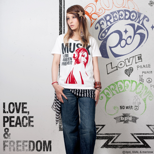 Love Peace Freedom ロックフェス 音楽系アートTシャツ