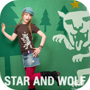 星とオオカミ デザインTシャツ