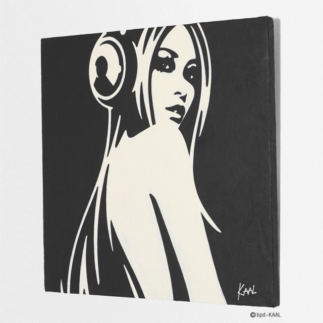 KAAL 直筆絵画 Woman with Headphones